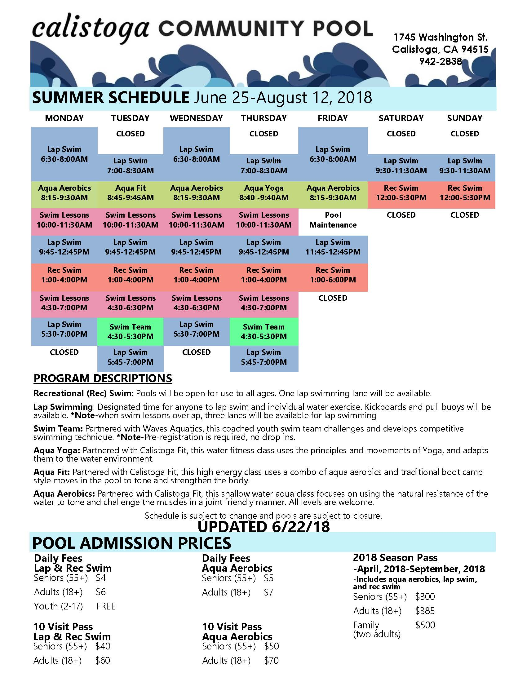 2018 Summer Schedule updated 6-19-18