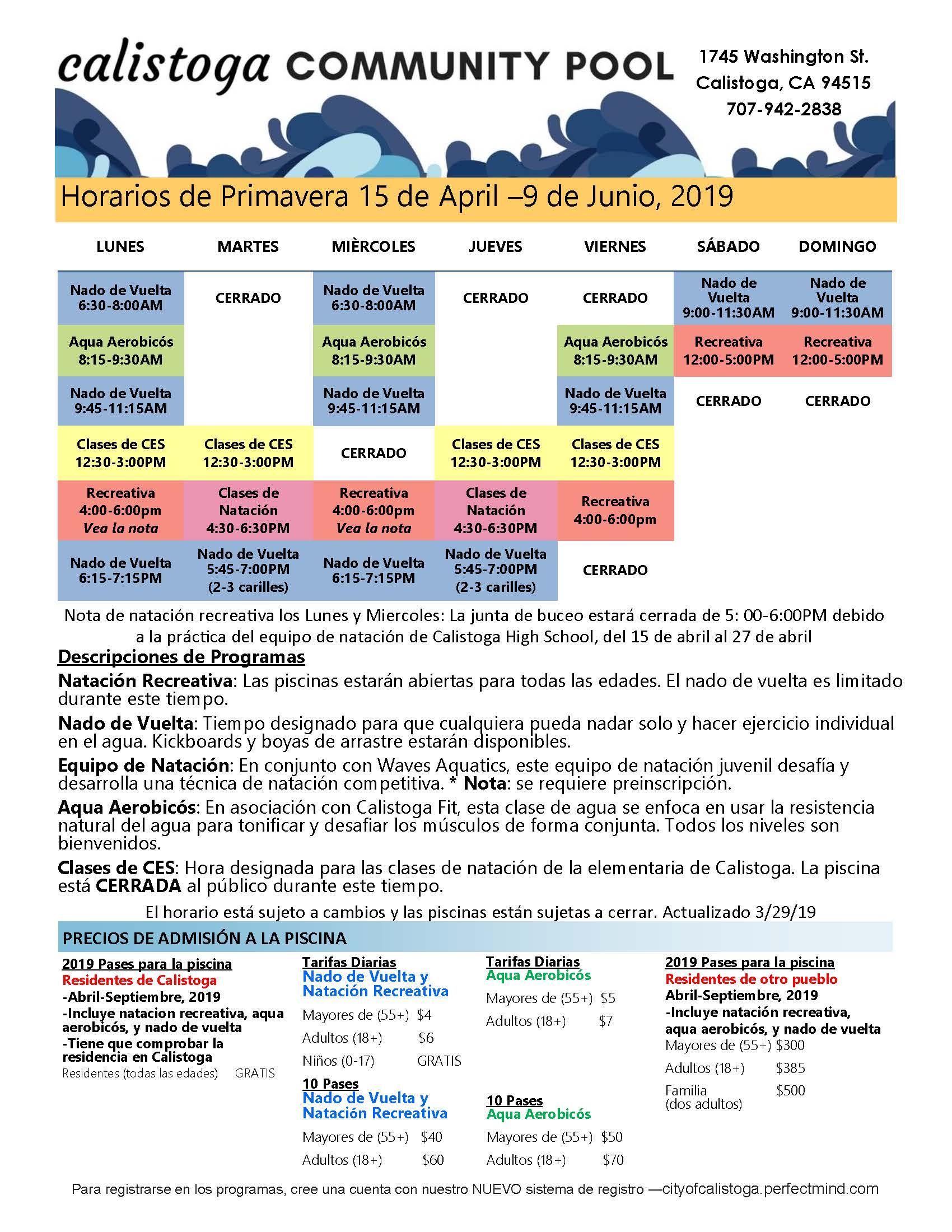 final 2019 spring schedule spanish.